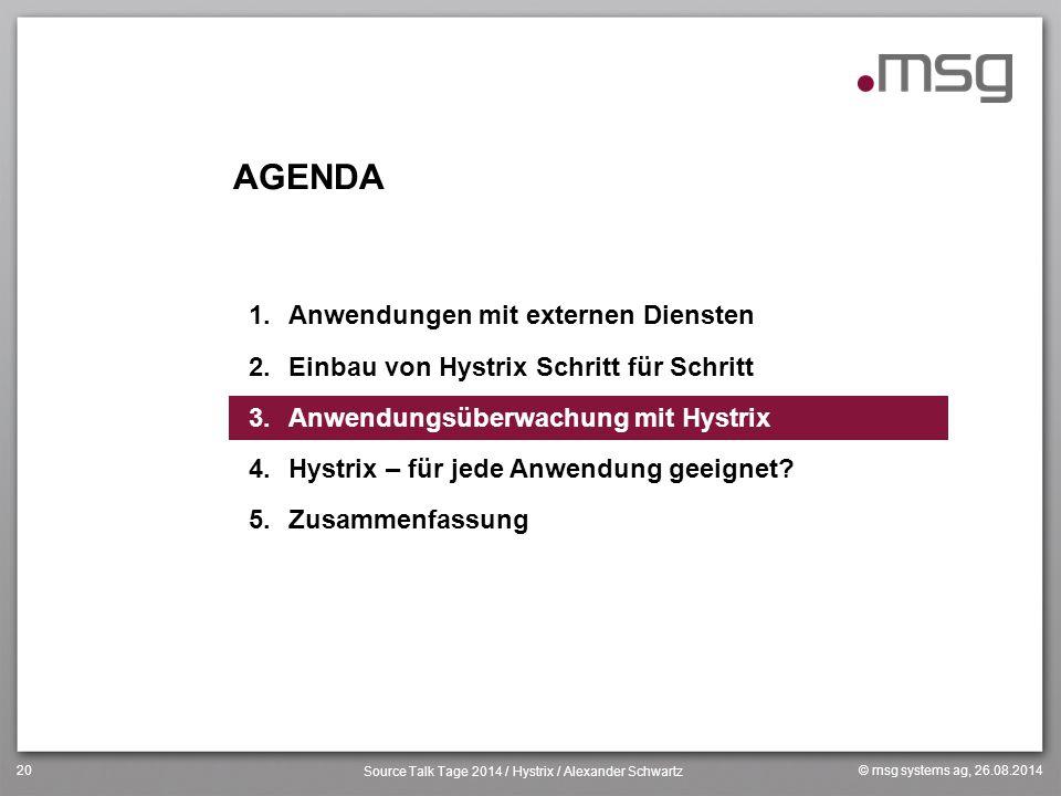 © msg systems ag, 26.08.2014 Source Talk Tage 2014 / Hystrix / Alexander Schwartz 20 AGENDA 1.Anwendungen mit externen Diensten 2.Einbau von Hystrix S