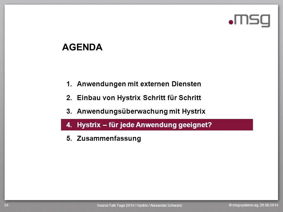 © msg systems ag, 26.08.2014 Source Talk Tage 2014 / Hystrix / Alexander Schwartz 24 AGENDA 1.Anwendungen mit externen Diensten 2.Einbau von Hystrix S