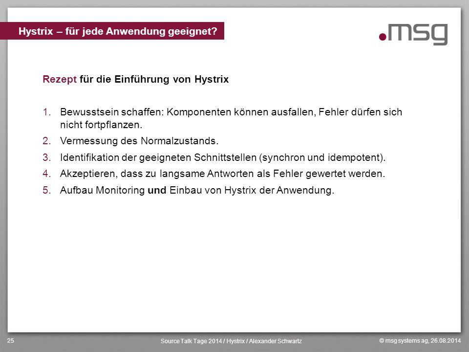 © msg systems ag, 26.08.2014 Source Talk Tage 2014 / Hystrix / Alexander Schwartz 25 Rezept für die Einführung von Hystrix 1.Bewusstsein schaffen: Kom