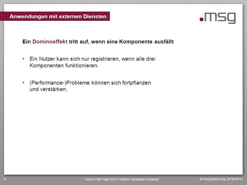 © msg systems ag, 26.08.2014 Source Talk Tage 2014 / Hystrix / Alexander Schwartz 6 Ein Dominoeffekt tritt auf, wenn eine Komponente ausfällt Ein Nutz