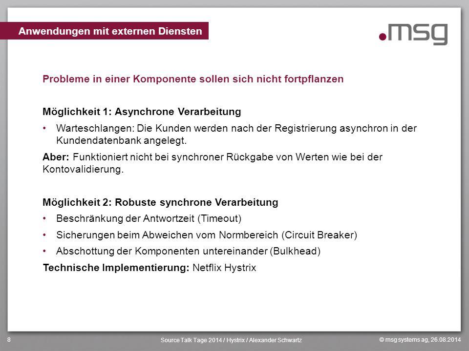 © msg systems ag, 26.08.2014 Source Talk Tage 2014 / Hystrix / Alexander Schwartz 8 Probleme in einer Komponente sollen sich nicht fortpflanzen Möglic