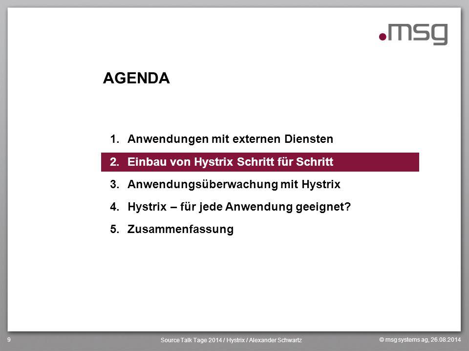 © msg systems ag, 26.08.2014 Source Talk Tage 2014 / Hystrix / Alexander Schwartz 9 AGENDA 1.Anwendungen mit externen Diensten 2.Einbau von Hystrix Sc