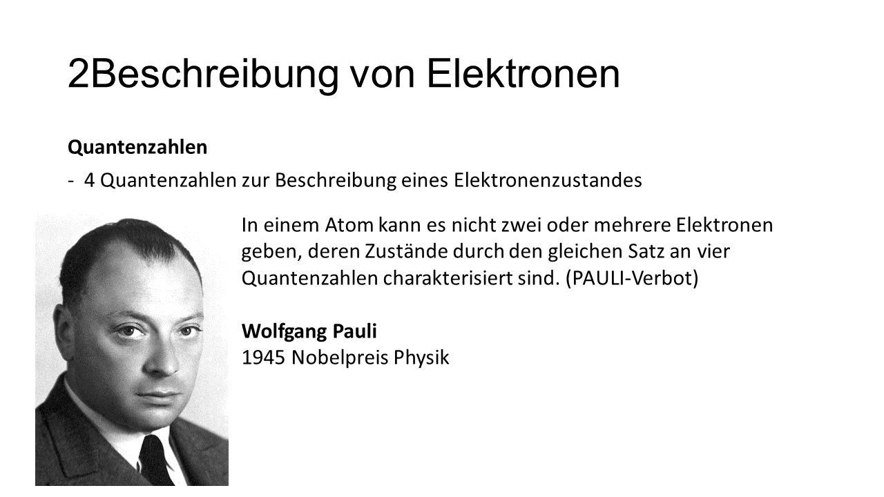 2Beschreibung von Elektronen Quantenzahlen -4 Quantenzahlen zur Beschreibung eines Elektronenzustandes In einem Atom kann es nicht zwei oder mehrere E