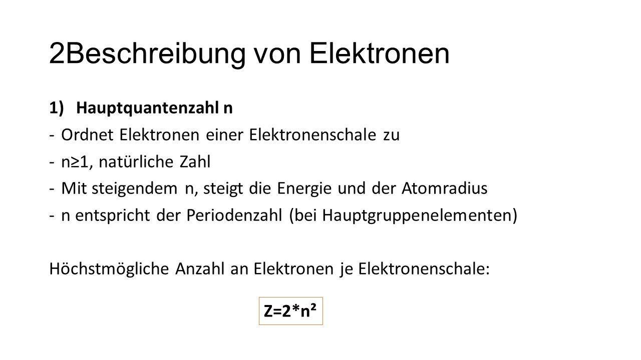 2Beschreibung von Elektronen 1)Hauptquantenzahl n -Ordnet Elektronen einer Elektronenschale zu -n≥1, natürliche Zahl -Mit steigendem n, steigt die Ene
