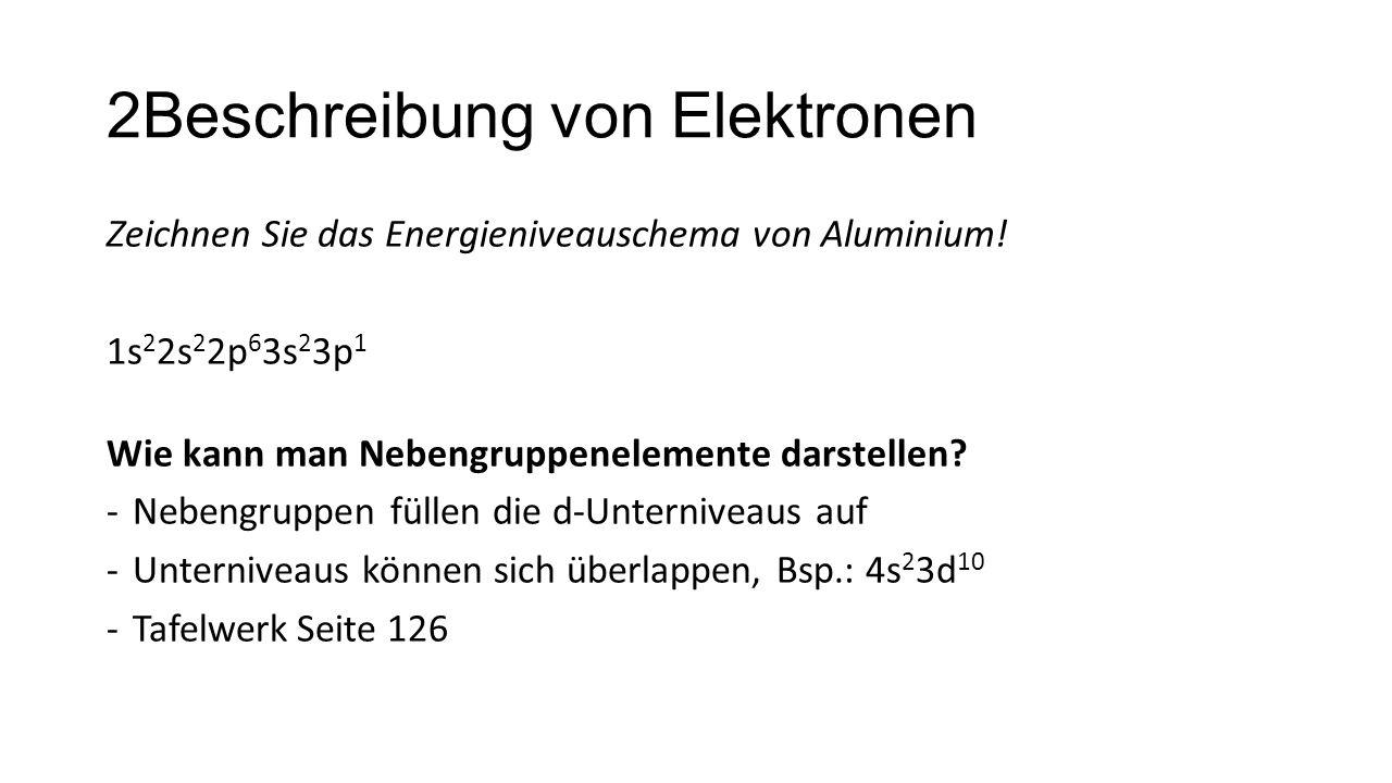 2Beschreibung von Elektronen Zeichnen Sie das Energieniveauschema von Aluminium! 1s 2 2s 2 2p 6 3s 2 3p 1 Wie kann man Nebengruppenelemente darstellen