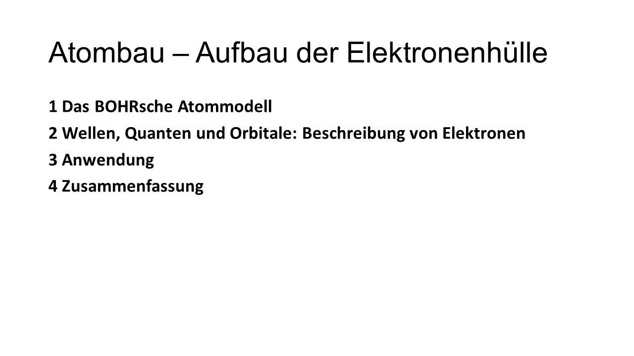 Atombau – Aufbau der Elektronenhülle 1 Das BOHRsche Atommodell 2 Wellen, Quanten und Orbitale: Beschreibung von Elektronen 3 Anwendung 4 Zusammenfassu