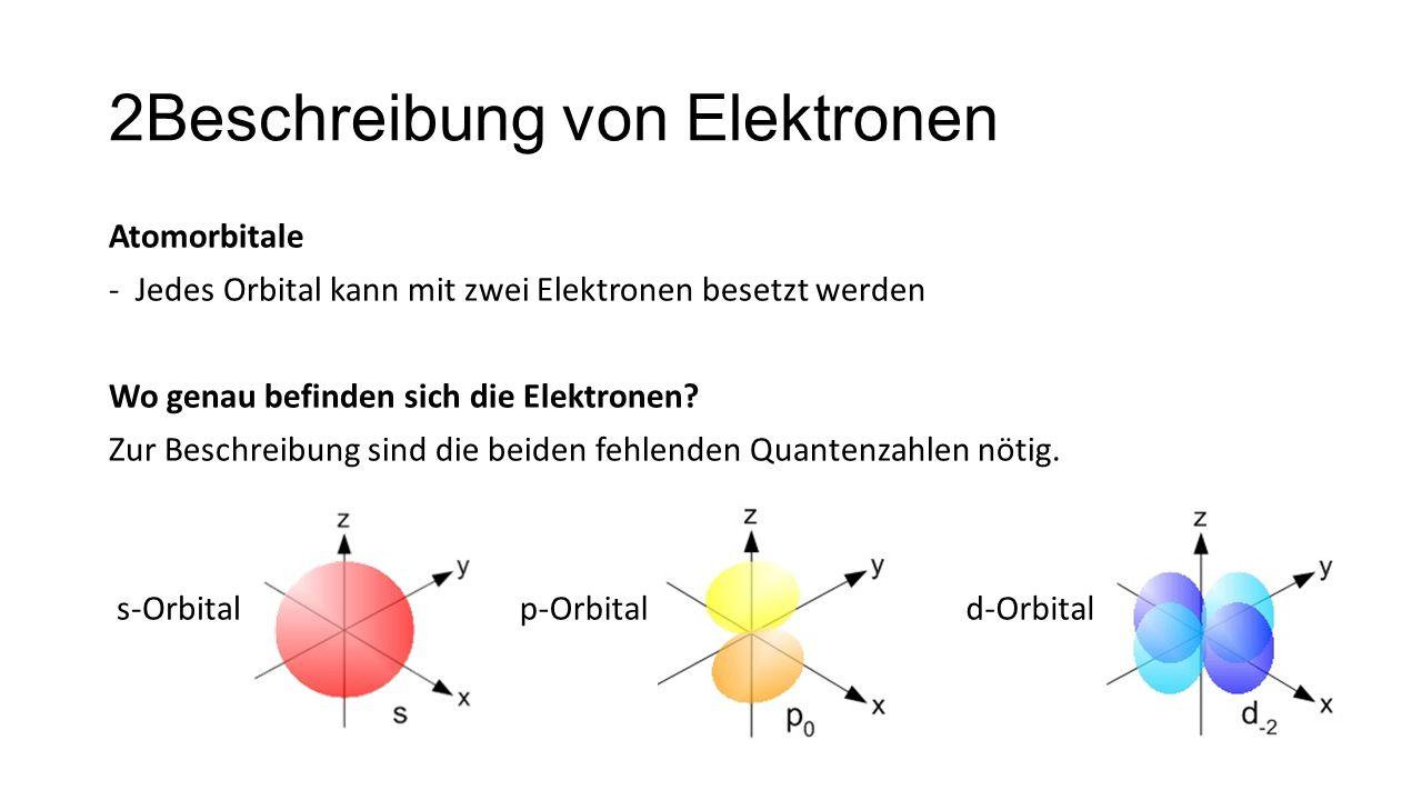 2Beschreibung von Elektronen Atomorbitale -Jedes Orbital kann mit zwei Elektronen besetzt werden Wo genau befinden sich die Elektronen? Zur Beschreibu