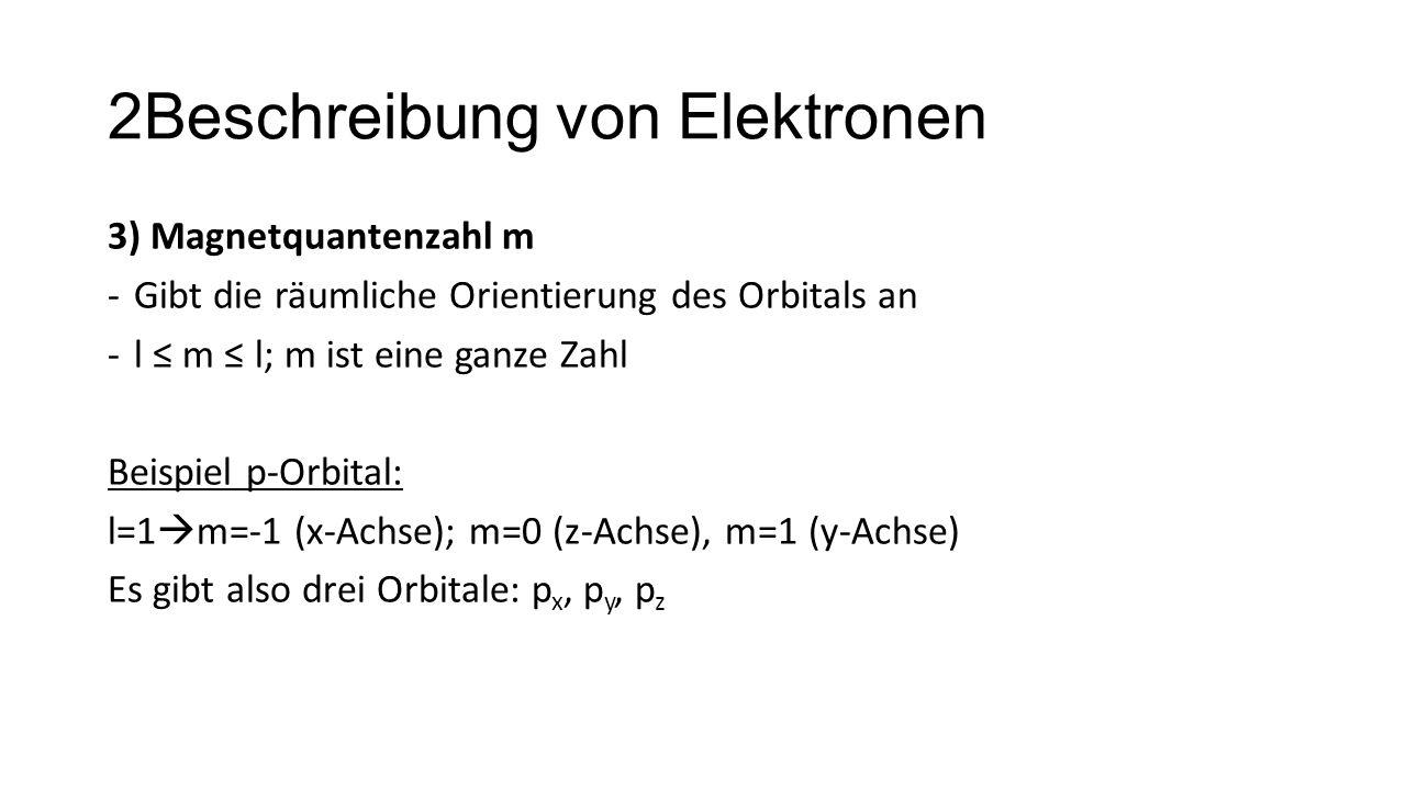 2Beschreibung von Elektronen 3) Magnetquantenzahl m -Gibt die räumliche Orientierung des Orbitals an -l ≤ m ≤ l; m ist eine ganze Zahl Beispiel p-Orbi