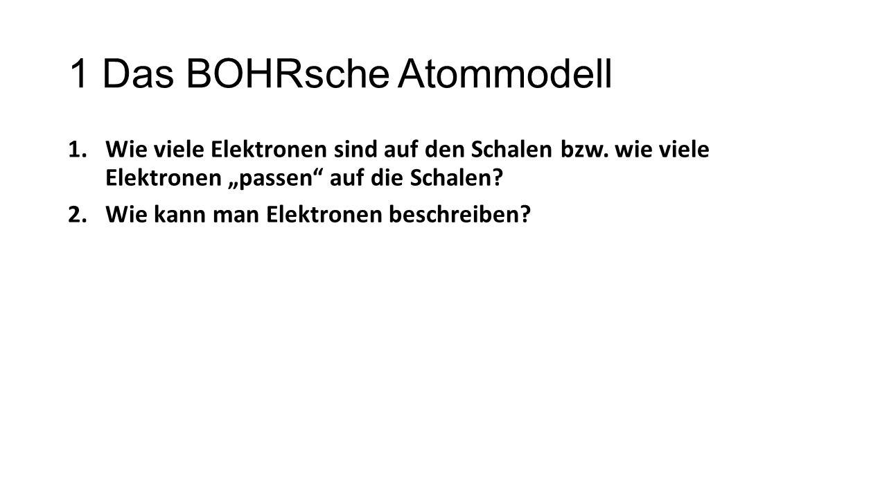 """1 Das BOHRsche Atommodell 1.Wie viele Elektronen sind auf den Schalen bzw. wie viele Elektronen """"passen"""" auf die Schalen? 2.Wie kann man Elektronen be"""