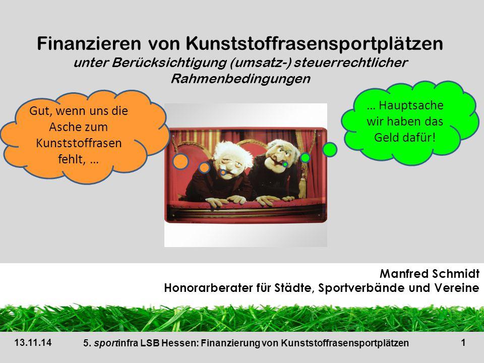2 Beziehungsfeld Bund, Land, Kreis, Stadt, Gemeinde (jPdöR) – Verein Ausnahme: vereinseigene Sportstätte 13.11.14 5.