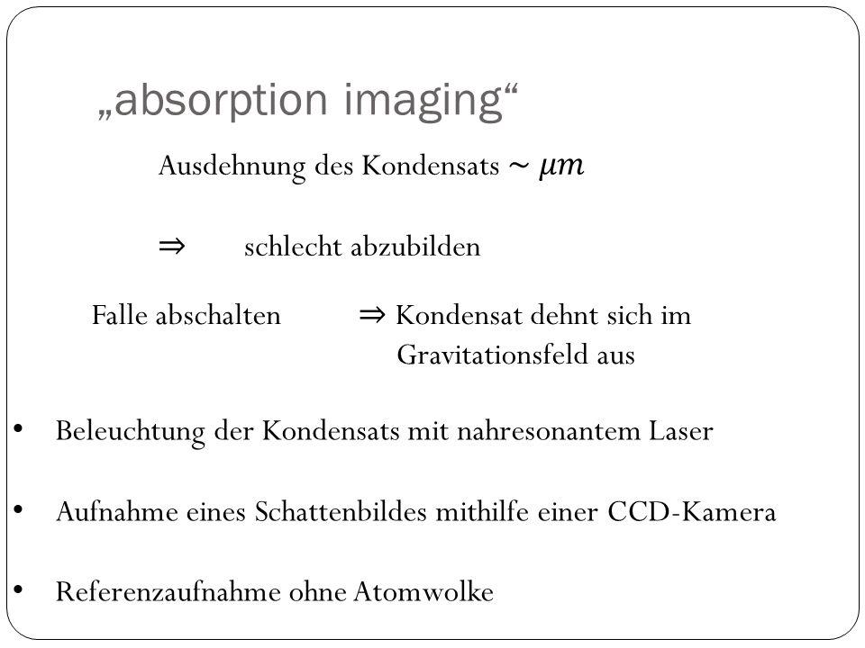 """""""absorption imaging"""" Beleuchtung der Kondensats mit nahresonantem Laser Aufnahme eines Schattenbildes mithilfe einer CCD-Kamera Referenzaufnahme ohne"""