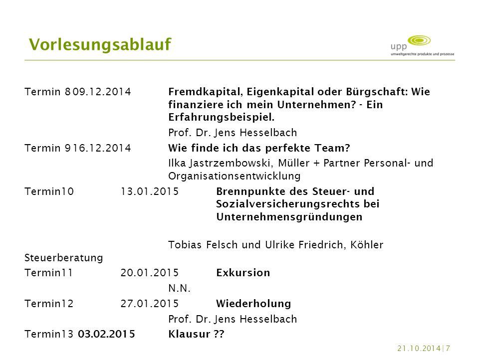 Termin 809.12.2014Fremdkapital, Eigenkapital oder Bürgschaft: Wie finanziere ich mein Unternehmen? - Ein Erfahrungsbeispiel. Prof. Dr. Jens Hesselbach