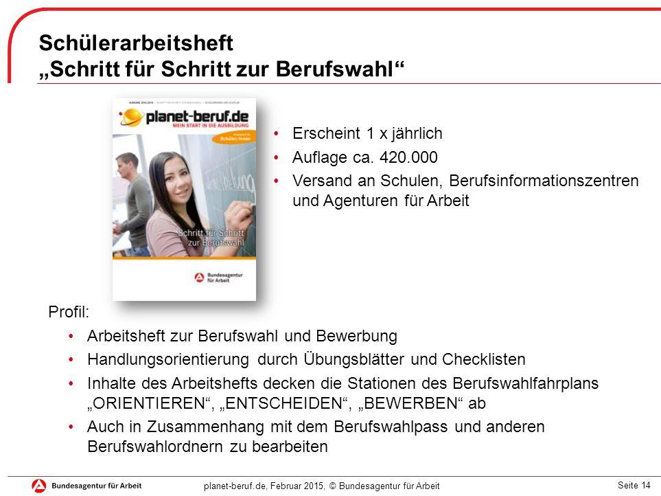 """Seite 14 planet-beruf.de, Februar 2015, © Bundesagentur für Arbeit Schülerarbeitsheft """"Schritt für Schritt zur Berufswahl Erscheint 1 x jährlich Auflage ca."""