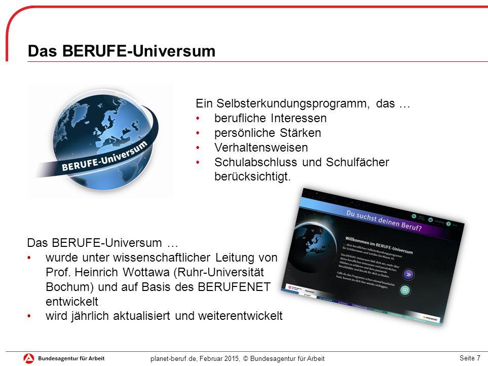 Seite 7 planet-beruf.de, Februar 2015, © Bundesagentur für Arbeit Das BERUFE-Universum … wurde unter wissenschaftlicher Leitung von Prof.
