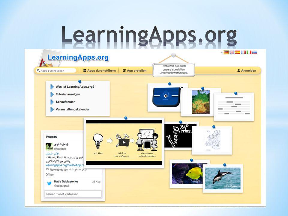 Ziele * LearningApps als Werkzeug für den Unterricht kennen lernen * Eine eigene App erstellen können * Möglichkeit kennen lernen, wie auch SchülerInnen ihre eigene App erstellen können * Eine Web 2.0-Anwendung für den Unterricht nutzen