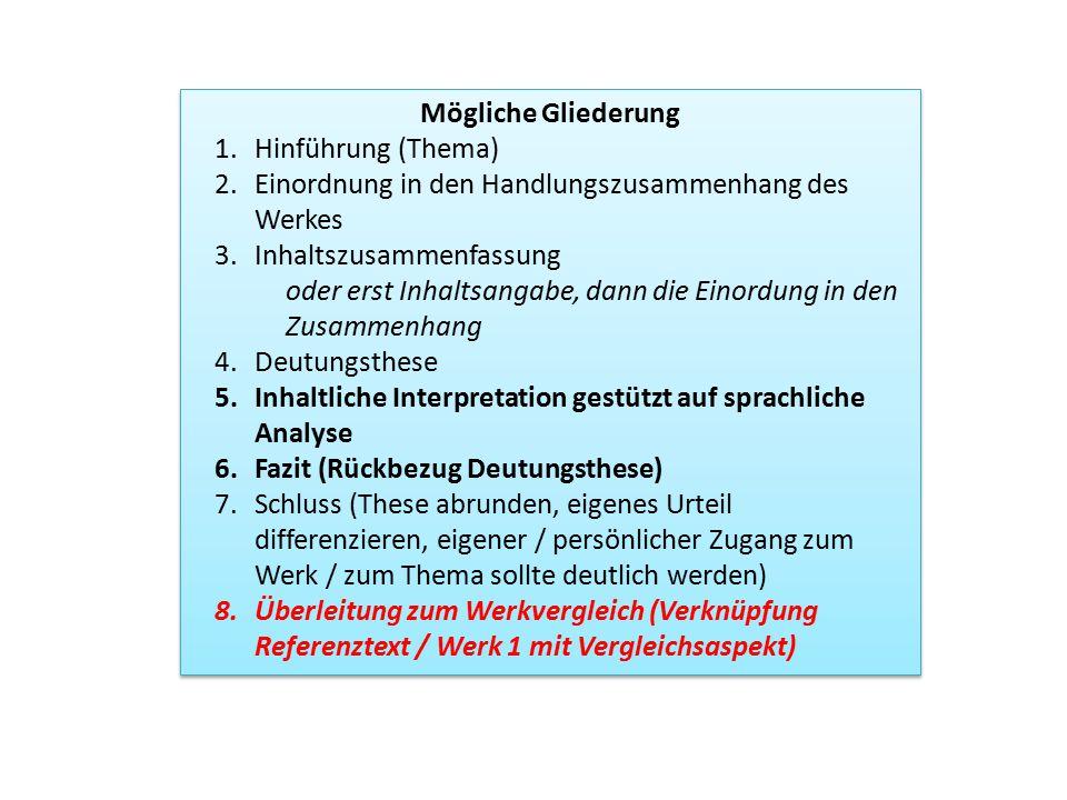 Mögliche Gliederung 1.Hinführung (Thema) 2.Einordnung in den Handlungszusammenhang des Werkes 3.Inhaltszusammenfassung oder erst Inhaltsangabe, dann d