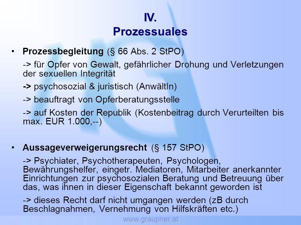 www.graupner.at Prozessbegleitung (§ 66 Abs. 2 StPO) -> für Opfer von Gewalt, gefährlicher Drohung und Verletzungen der sexuellen Integrität -> psycho
