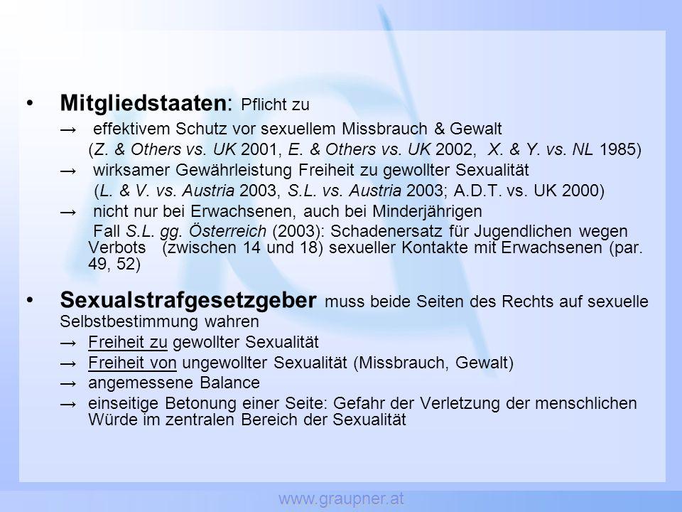www.graupner.at Mitgliedstaaten: Pflicht zu → effektivem Schutz vor sexuellem Missbrauch & Gewalt (Z. & Others vs. UK 2001, E. & Others vs. UK 2002, X