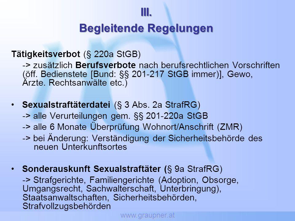 www.graupner.at III. Begleitende Regelungen Tätigkeitsverbot (§ 220a StGB) -> zusätzlich Berufsverbote nach berufsrechtlichen Vorschriften (öff. Bedie