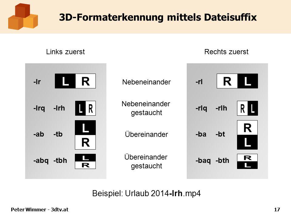 Nebeneinander Übereinander -lr -lrq-lrh -ab-tb -abq-tbh 3D-Formaterkennung mittels Dateisuffix Peter Wimmer - 3dtv.at17 Beispiel: Urlaub 2014-lrh.mp4 -rl -rlq-rlh -ba-bt -baq-bth Links zuerstRechts zuerst Nebeneinander gestaucht Übereinander gestaucht