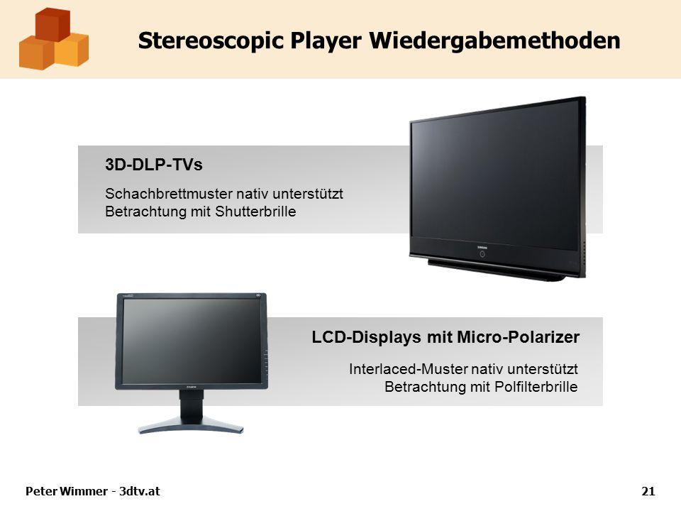 Peter Wimmer - 3dtv.at21 Stereoscopic Player Wiedergabemethoden 3D-DLP-TVs LCD-Displays mit Micro-Polarizer Schachbrettmuster nativ unterstützt Betrachtung mit Shutterbrille Interlaced-Muster nativ unterstützt Betrachtung mit Polfilterbrille