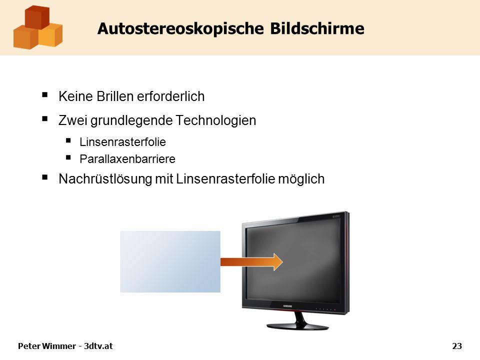 Autostereoskopische Bildschirme  Keine Brillen erforderlich  Zwei grundlegende Technologien  Linsenrasterfolie  Parallaxenbarriere  Nachrüstlösung mit Linsenrasterfolie möglich Peter Wimmer - 3dtv.at23