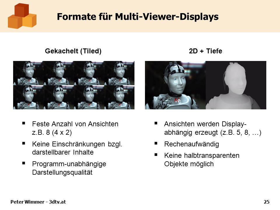 Formate für Multi-Viewer-Displays  Feste Anzahl von Ansichten z.B. 8 (4 x 2)  Keine Einschränkungen bzgl. darstellbarer Inhalte  Programm-unabhängi
