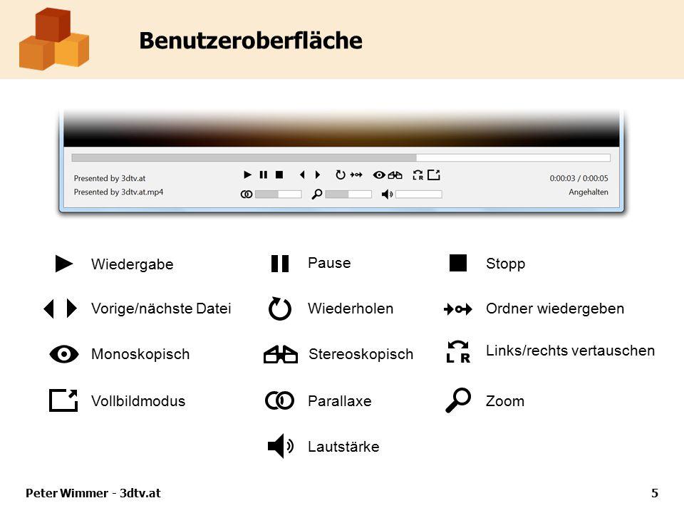 Benutzeroberfläche Peter Wimmer - 3dtv.at5 Wiedergabe Pause Stopp Vorige/nächste DateiWiederholenOrdner wiedergeben MonoskopischStereoskopisch Links/rechts vertauschen Vollbildmodus ParallaxeZoom Lautstärke