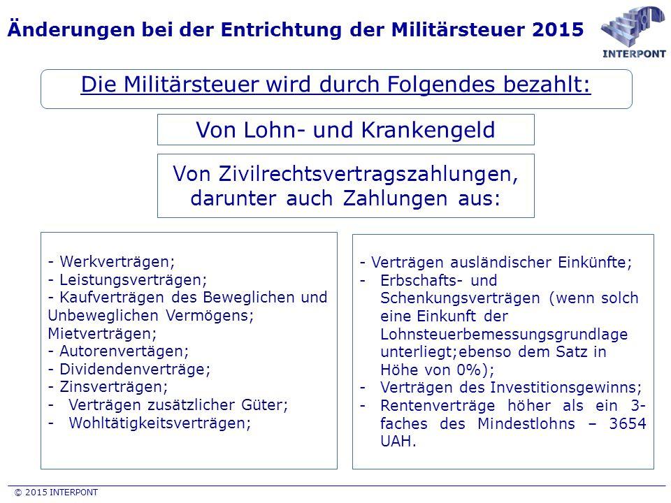 © 2015 INTERPONT Änderungen bei der Entrichtung der Militärsteuer 2015 Die Militärsteuer wird durch Folgendes bezahlt: Von Lohn- und Krankengeld Von Z