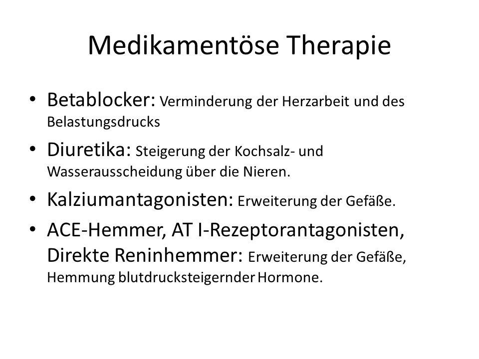 Medikamentöse Therapie Betablocker: Verminderung der Herzarbeit und des Belastungsdrucks Diuretika: Steigerung der Kochsalz- und Wasserausscheidung über die Nieren.