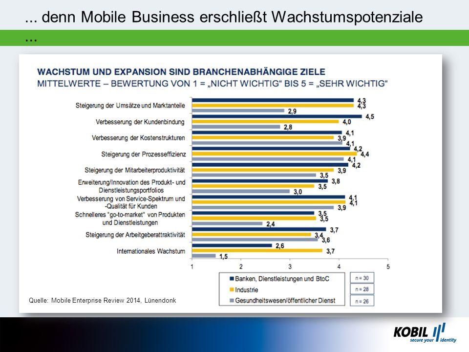 ... denn Mobile Business erschließt Wachstumspotenziale... Quelle: Mobile Enterprise Review 2014, Lünendonk