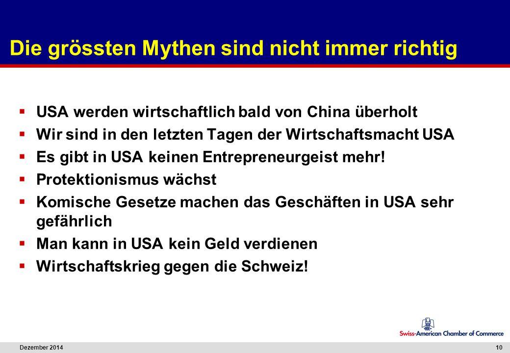 Dezember 2014 10 Die grössten Mythen sind nicht immer richtig  USA werden wirtschaftlich bald von China überholt  Wir sind in den letzten Tagen der