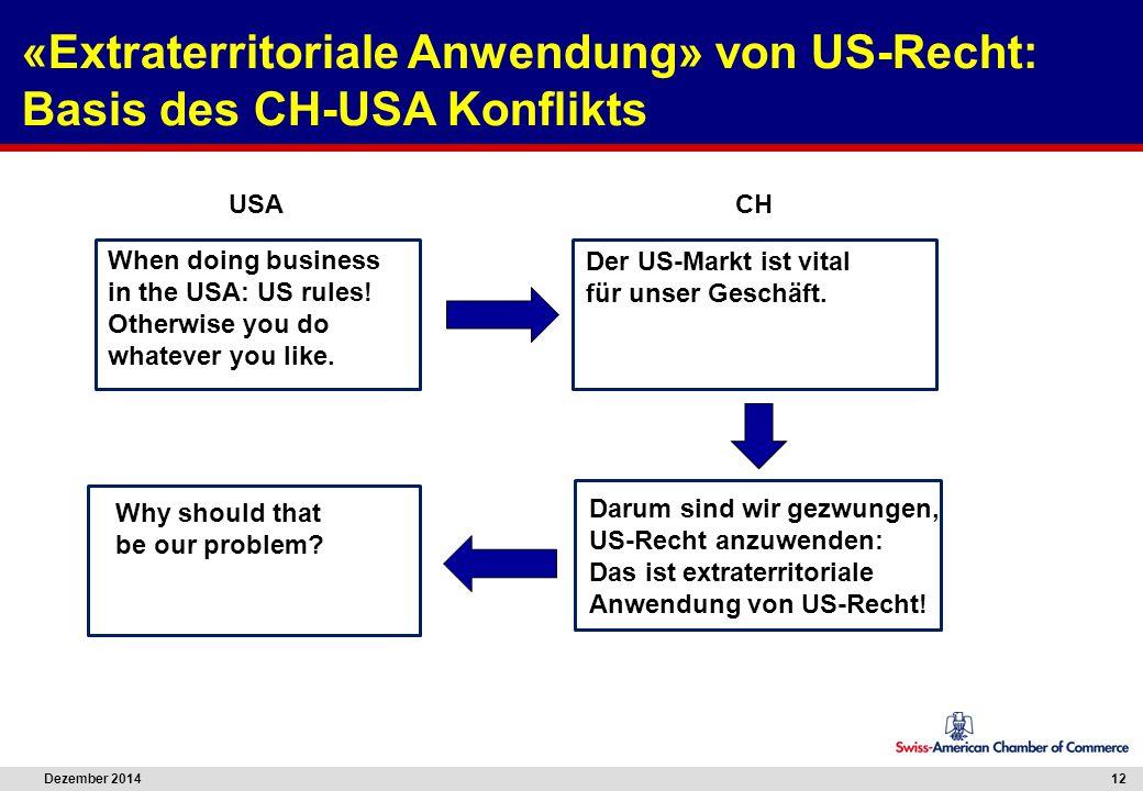 Dezember 2014 12 Darum sind wir gezwungen, US-Recht anzuwenden: Das ist extraterritoriale Anwendung von US-Recht! When doing business in the USA: US r