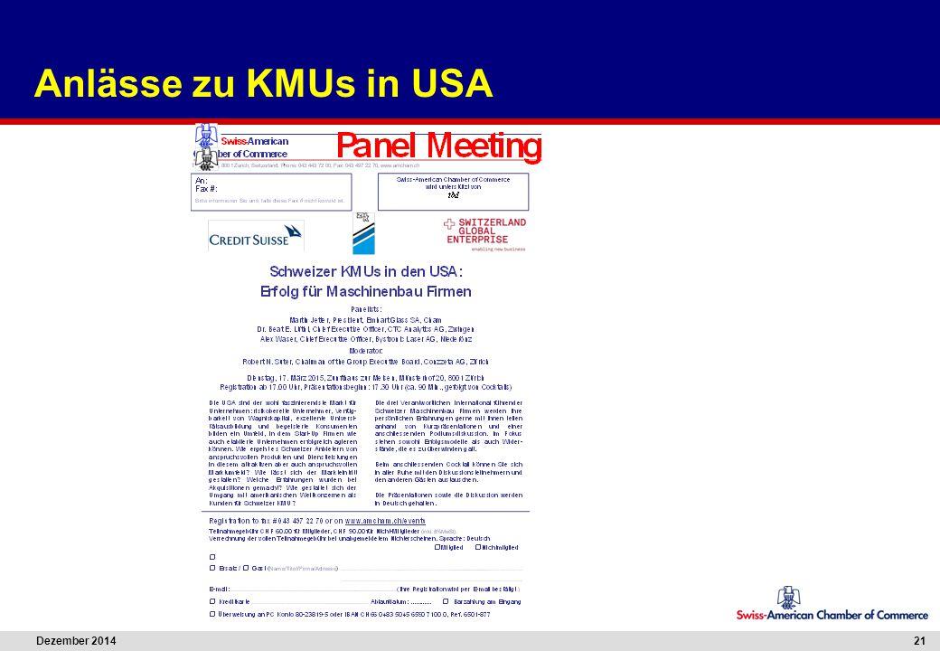 Dezember 2014 21 Anlässe zu KMUs in USA