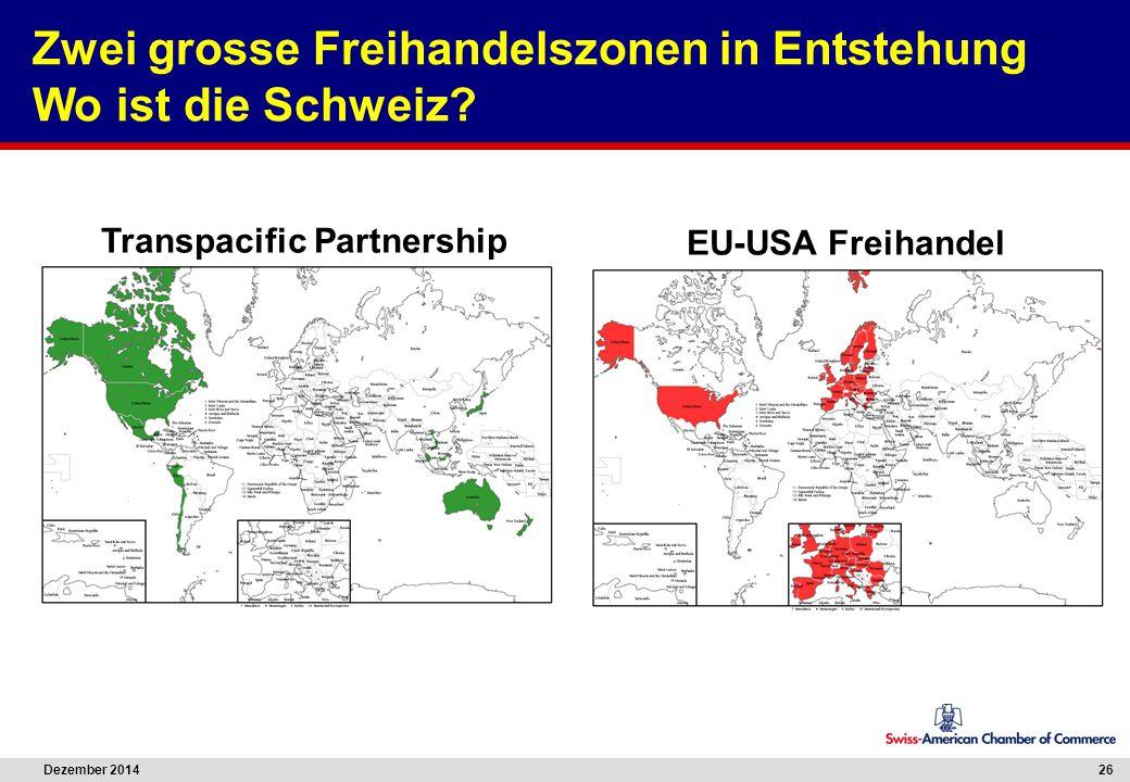 Dezember 2014 26 Zwei grosse Freihandelszonen in Entstehung Wo ist die Schweiz? Transpacific Partnership EU-USA Freihandel