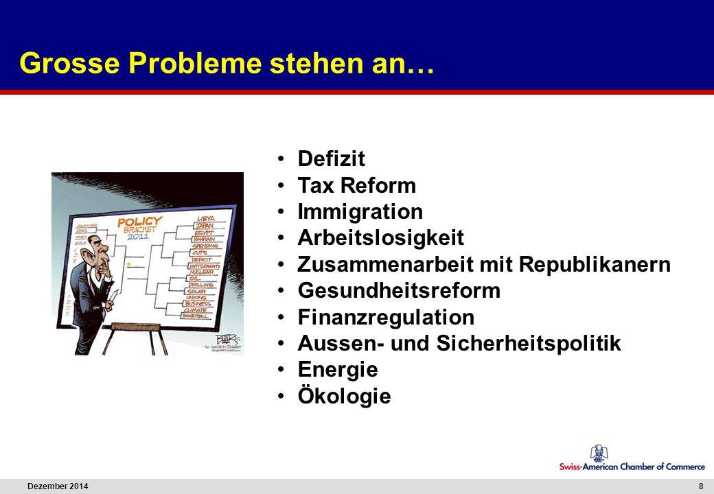 Dezember 2014 8 Grosse Probleme stehen an… Defizit Tax Reform Immigration Arbeitslosigkeit Zusammenarbeit mit Republikanern Gesundheitsreform Finanzre