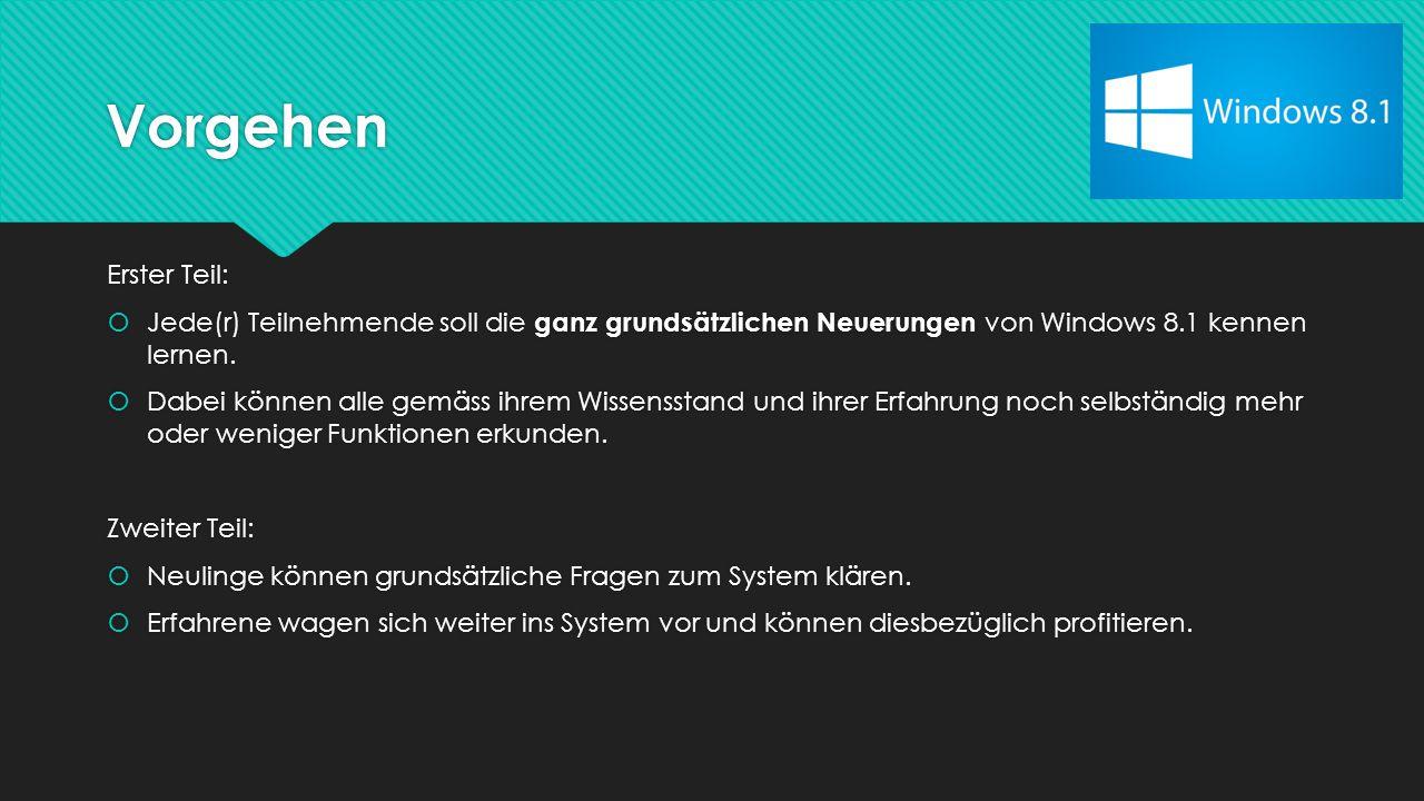 Vorgehen Erster Teil:  Jede(r) Teilnehmende soll die ganz grundsätzlichen Neuerungen von Windows 8.1 kennen lernen.