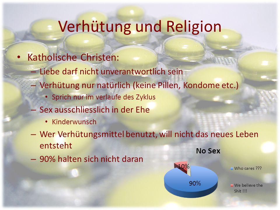 Verhütung und Religion Evangelische Christen: – Sexualtrieb als Teil des Menschen – Verantwortungsbewusster Umgang mit der Sexualität – Ablehnung gege