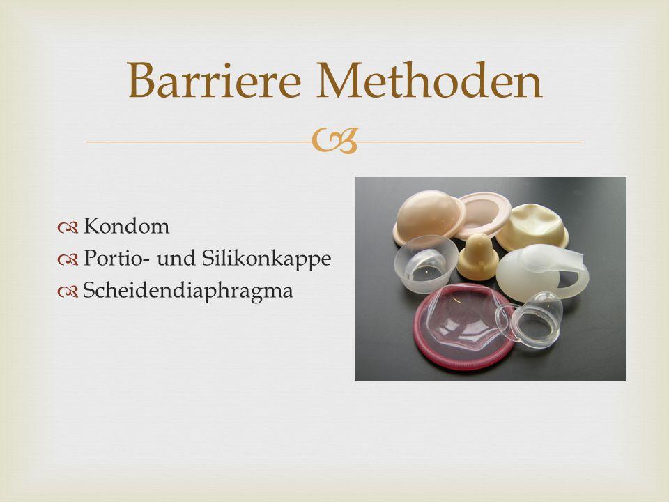   Kondom  Portio- und Silikonkappe  Scheidendiaphragma Barriere Methoden