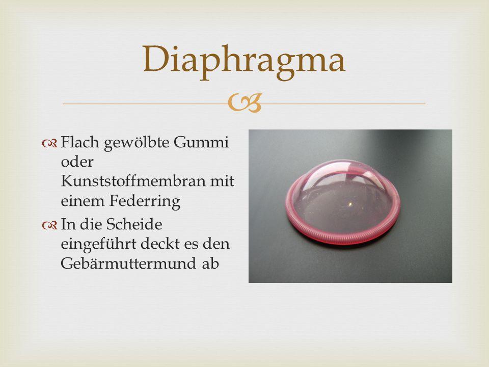   Flach gewölbte Gummi oder Kunststoffmembran mit einem Federring  In die Scheide eingeführt deckt es den Gebärmuttermund ab Diaphragma