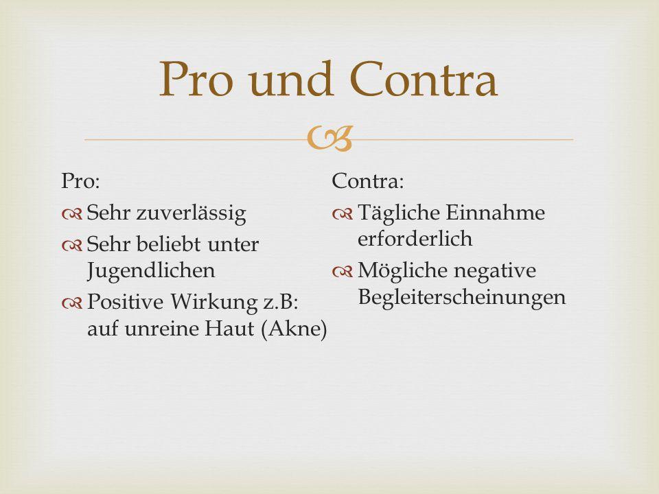  Pro:  Sehr zuverlässig  Sehr beliebt unter Jugendlichen  Positive Wirkung z.B: auf unreine Haut (Akne) Contra:  Tägliche Einnahme erforderlich 