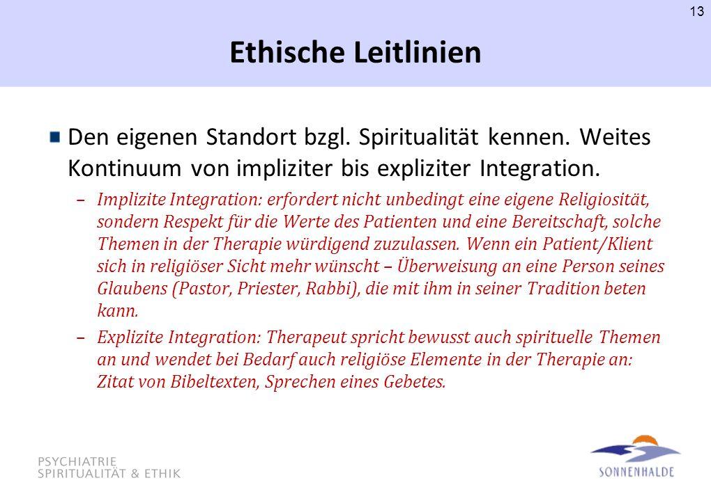 Ethische Leitlinien Den eigenen Standort bzgl. Spiritualität kennen. Weites Kontinuum von impliziter bis expliziter Integration. –Implizite Integratio