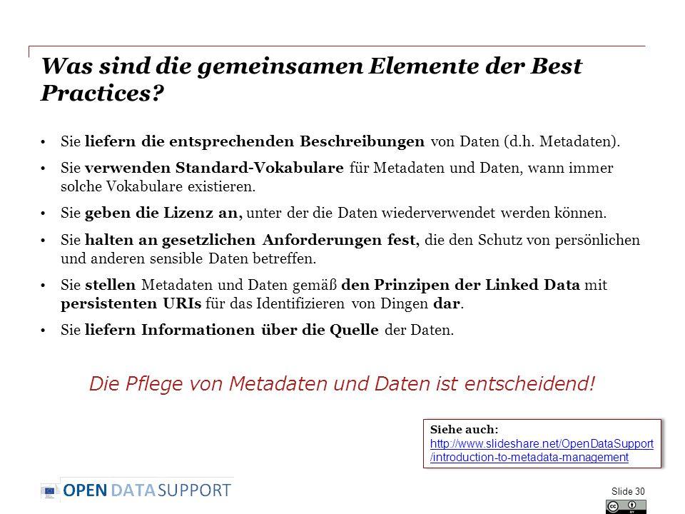 Was sind die gemeinsamen Elemente der Best Practices? Sie liefern die entsprechenden Beschreibungen von Daten (d.h. Metadaten). Sie verwenden Standard