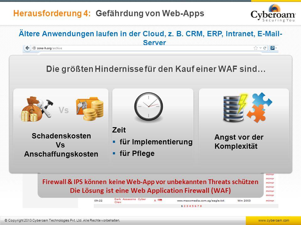 © Copyright 2013 Cyberoam Technologies Pvt. Ltd. Alle Rechte vorbehalten. www.cyberoam.com Herausforderung 4: Gefährdung von Web-Apps Ältere Anwendung