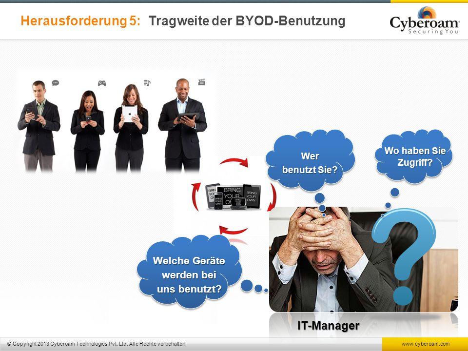 © Copyright 2013 Cyberoam Technologies Pvt. Ltd. Alle Rechte vorbehalten. www.cyberoam.com Herausforderung 5: Tragweite der BYOD-Benutzung IT-Manager