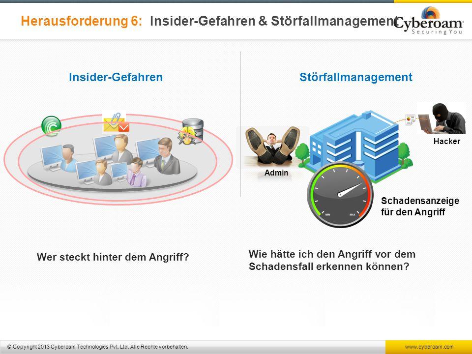© Copyright 2013 Cyberoam Technologies Pvt. Ltd. Alle Rechte vorbehalten. www.cyberoam.com Herausforderung 6: Insider-Gefahren & Störfallmanagement In