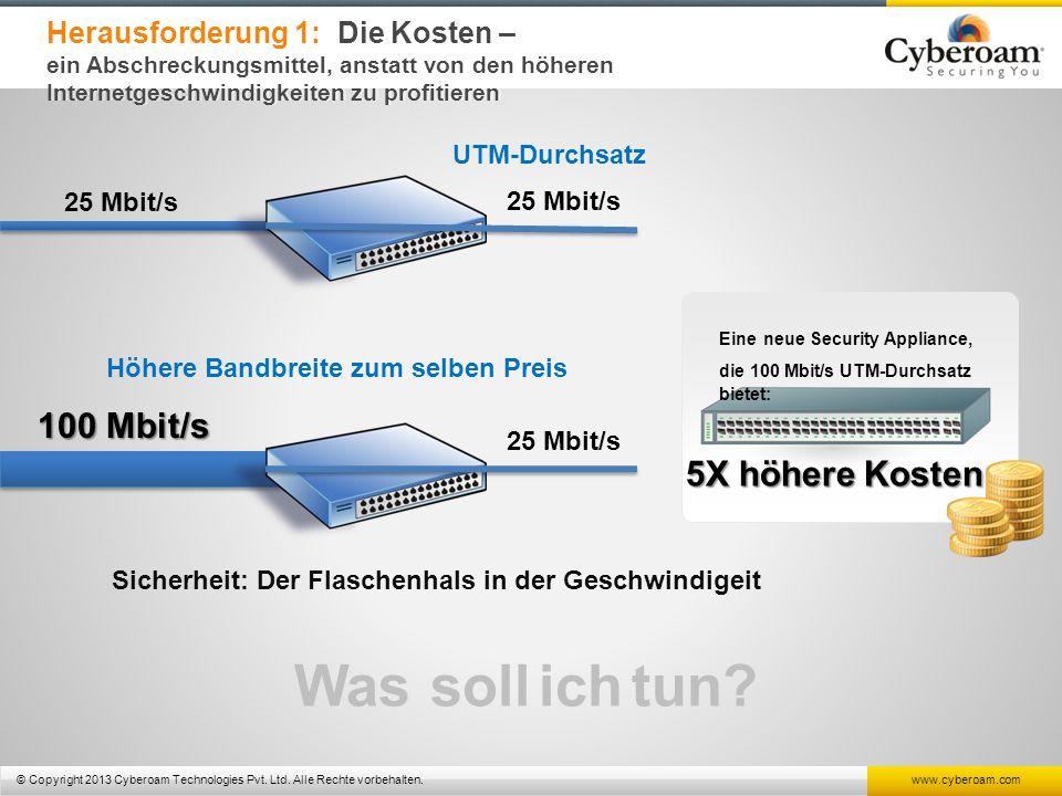 © Copyright 2013 Cyberoam Technologies Pvt. Ltd. Alle Rechte vorbehalten. www.cyberoam.com Herausforderung 1: Die Kosten – ein Abschreckungsmittel, an