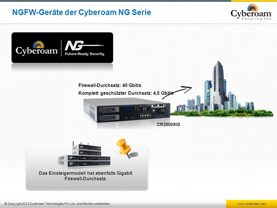 © Copyright 2013 Cyberoam Technologies Pvt. Ltd. Alle Rechte vorbehalten. www.cyberoam.com CR2500iNG Firewall-Durchsatz: 40 Gbit/s Komplett geschützte