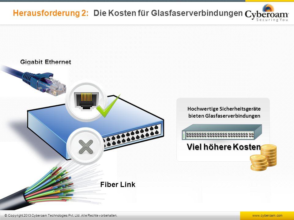 © Copyright 2013 Cyberoam Technologies Pvt. Ltd. Alle Rechte vorbehalten. www.cyberoam.com Herausforderung 2: Die Kosten für Glasfaserverbindungen Fib