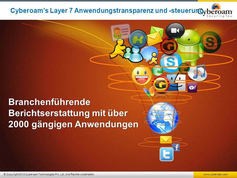 © Copyright 2013 Cyberoam Technologies Pvt. Ltd. Alle Rechte vorbehalten. www.cyberoam.com Branchenführende Berichtserstattungmitüber 2000 gängigen An